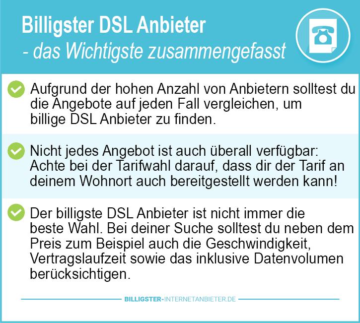 billigster DSL Anbieter ohne Telefon