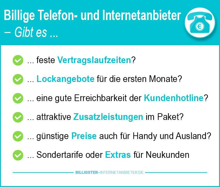 Billigster Telefon und Internetanbieter