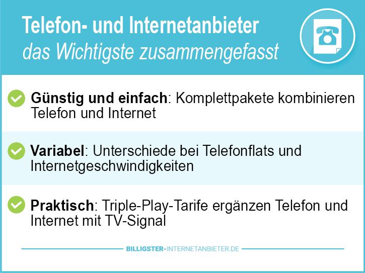 Telefon und Internetanbieter Testsieger