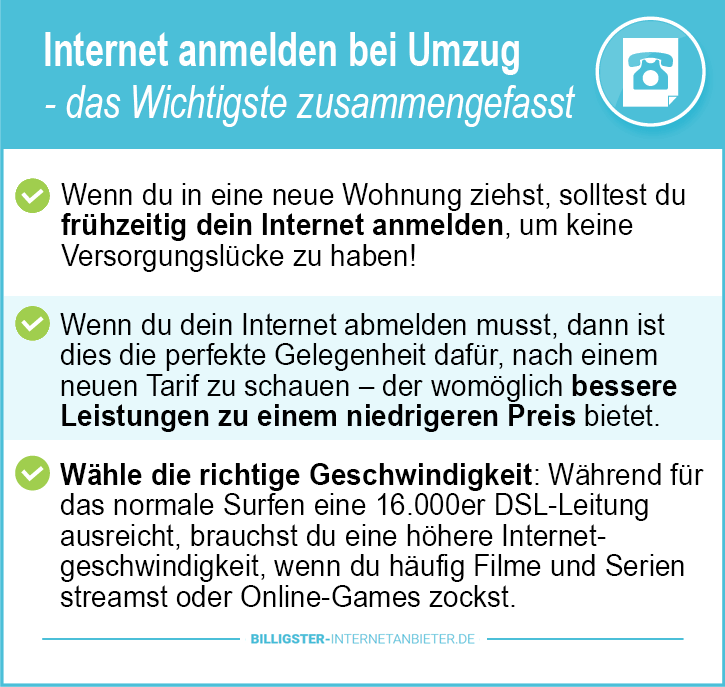Internetanbieter wechseln bei Umzug