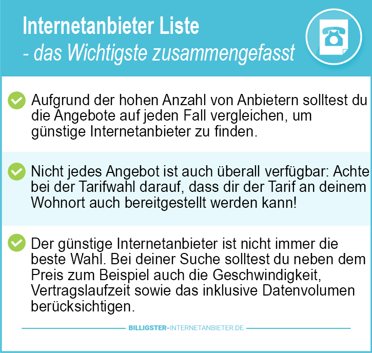 Internetanbieter Liste