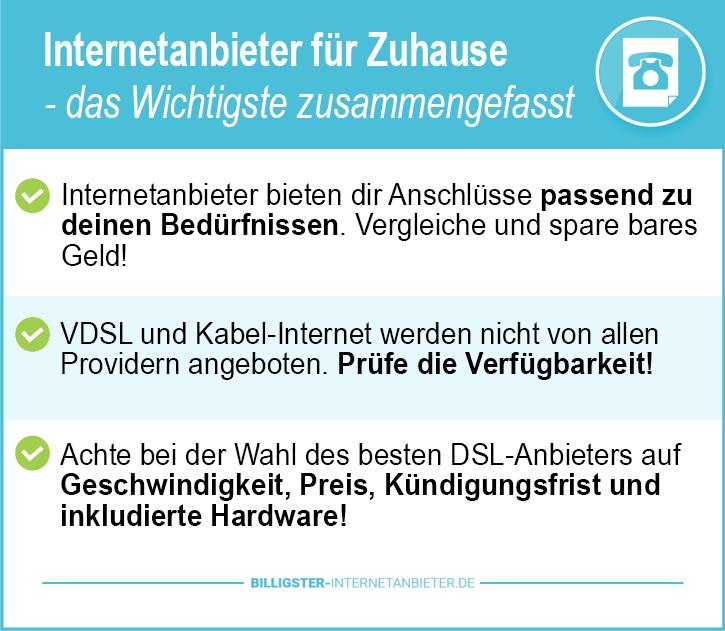 Internetanbieter für Zuhause
