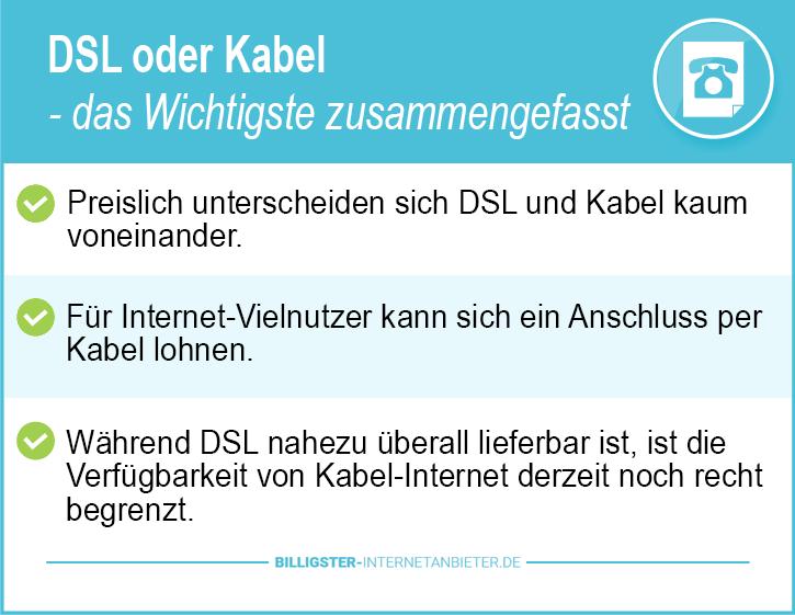 Internet DSL oder Kabel