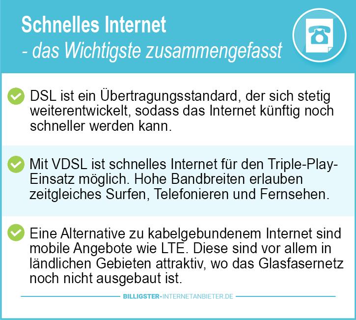 DSL Speedtest schnelles Internet