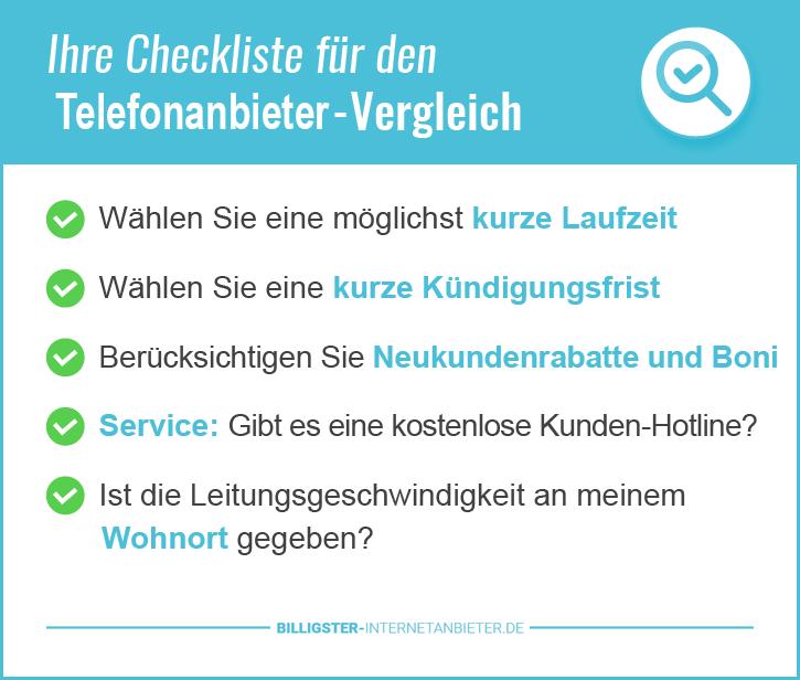 Checkliste für den Festnetz Telefontarif