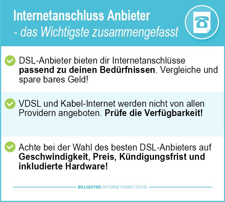 Internetanschluss Anbieter