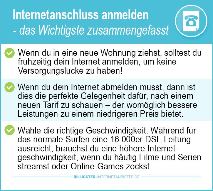 Internetanschluss anmelden