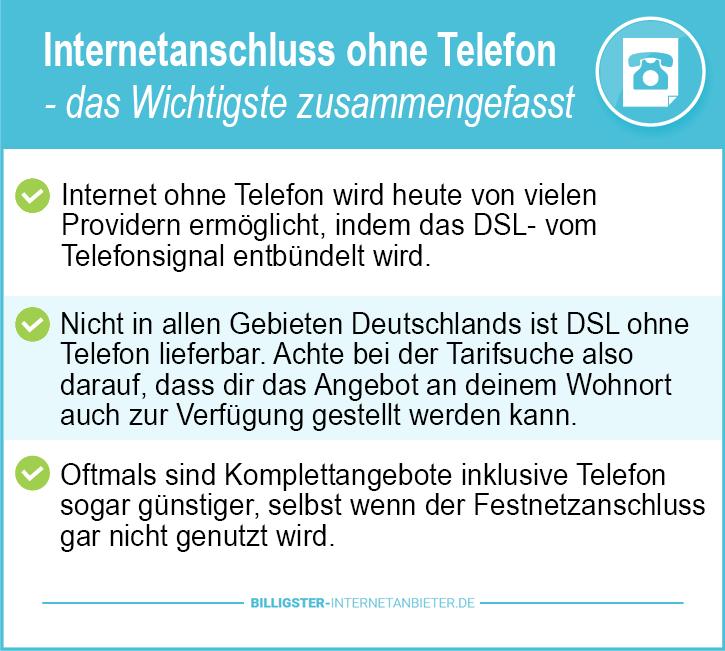 Internetanschluss ohne Telefon
