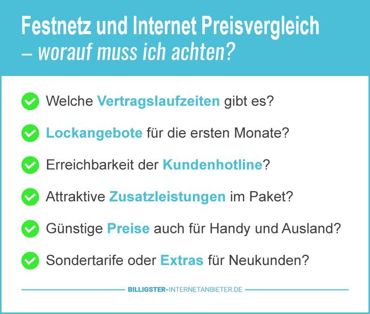 Festnetz und Internet Preisvergleich Deutschland