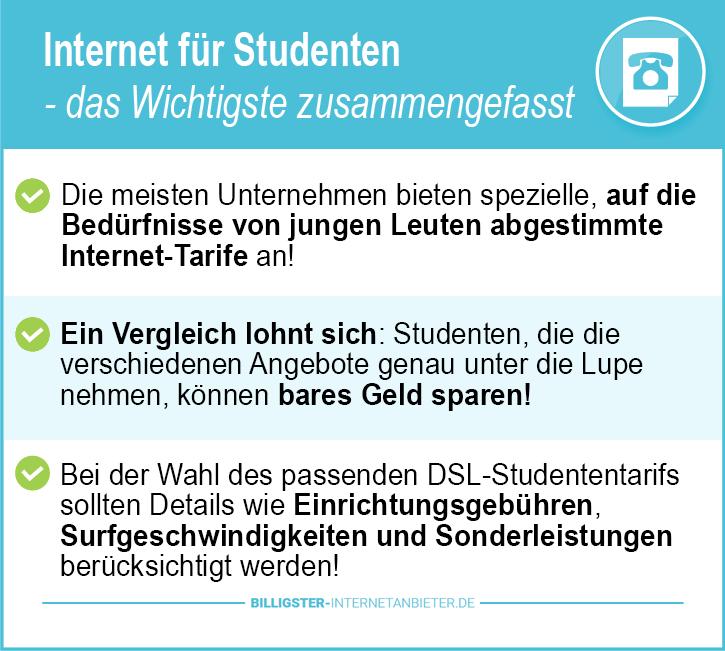 Günstige Internetanbieter Studenten
